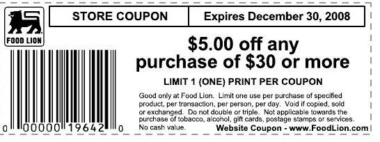 graphic regarding Food Lion Printable Coupons identified as $5 off $30 Food stuff Lion Printable :: Southern Savers