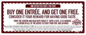 picture relating to Tgifridays Printable Coupons titled B1G1 Supper at TGI Fridays :: Southern Savers